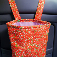 Car Trash Bag with Water Resistant PUL Lining for Head Rest Red-Orange Flowers & Orchid Lining Washable Car Trash Bag/Waste Bag/Refuse Bag