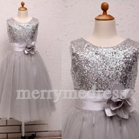 Sequins Crew Wide Straps Flower Long Ball Gown Flower Girl Dress, Tea Length Tulle Formal Evening Party Prom Dress New Homecoming Dress