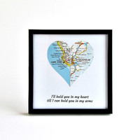 Personalized Map Heart / Long Distance Relationship Gift / Gifts Under 25 /  Long Distance Girlfriend Gift / Gift for Girlfriend