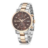 Maserati Designer Men's Watches Epoca Brown Dial Two Tone Stainless Steel Men's Watch