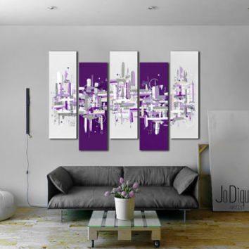 "Original abstract painting. 41x64"" 5 piece canvas art. Large painting. Purple and gray. Modern wall art with black & white. Purple painting"