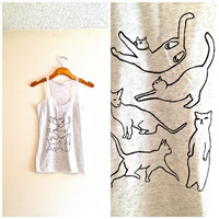 Racerback white flecked and black cat tank top, black cat silhouette, yoga clothes, hipster shirt, cat tshirt, teen girl apparel, cat tee