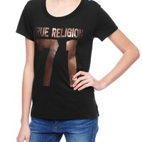 True Religion 71 Graphic Relaxed Womens T-shirt - Black