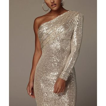 Women's One-shoulder Slant Collar Wrapped Chest Fashion Sequin Sexy Evening Dress