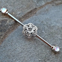Fire Opal Industrial Piercing Barbell with Silver Flower 14ga Body Jewelry Ear Jewelry Double Piercing Upper Ear Jewelry