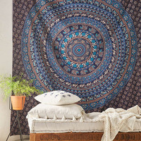 Magical Thinking Turquoise Elephant Medallion Tapestry | Urban Outfitters