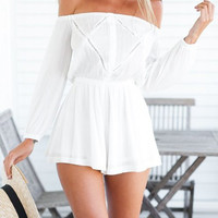 White Off Shoulder Romper