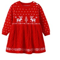 Girls Knitted Christmas Dress