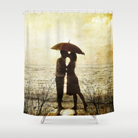 Love beach Shower Curtain by Tony Vazquez