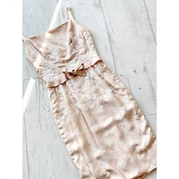 1950s Nude Embroidered Cocktail Dress