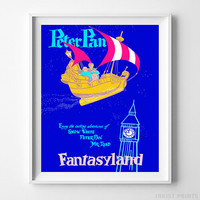 Disneyland Print Peter Pan Fantasyland Disney Poster Decor Gift Idea UNFRAMED by Inkist Prints