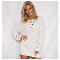 """Style and Flare"" V Neck Lace Up Ivory Sweater"
