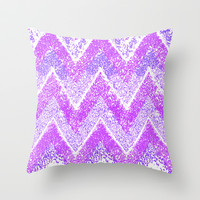 purple snow chevron Throw Pillow by Marianna Tankelevich