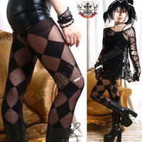 PUNK GOTH Tights/Pantyhose OPAQUE+SHEER ARGYLE CHECKER