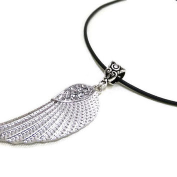 Silver Angel Wing Choker Necklace, Angel Wing with Rhinestones, Black Choker, Silver Wing Necklace, Protection Necklace, Boho Necklace, Gift