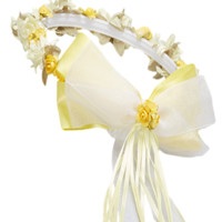 Girls Yellow Floral Crown Head Wreath w. Silk Flowers & Bow