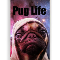 iPhone 4 Case - Hard (PC) Cover with Funny Pug Life On Galaxy Plastic Case Design