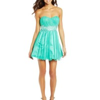Sequin Hearts by My Michelle Juniors Strapless Lace Up Back Dress with Jewel Waist, Mint, 9