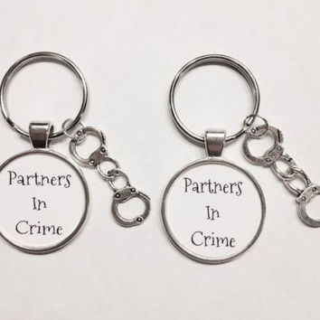 Handcuff Partners In Crime Best Friends Sisters Couple His And Hers Keychain Set