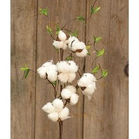 """Cotton & Willow Leaves 24"""" Spray"""