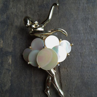 Vintage Mother of Pearl Ballerina Figural Brooch Pin Accessories Jewelry For Her Women