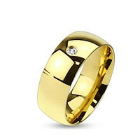 Men's Gold Plated Stainless Steel Wedding Band with CZ Stone