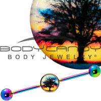 Glow in the Dark Sunset Tree Industrial Barbell in Rainbow Titanium | Body Candy Body Jewelry