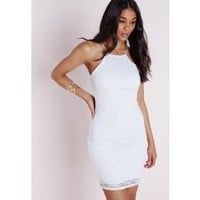 Strappy Straight Neck Bodycon Dress White Lace - Dresses - Bodycon Dresses - Missguided