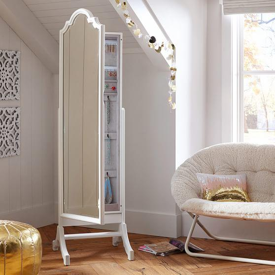 Jewelry storage floor mirror from pbteen bedroom stuff for Chaise fourrure