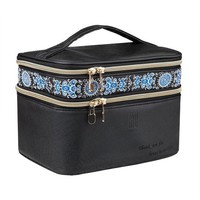 ONETOW EN'DA Double Layer Make up Travel Cosmetic Bags with Elegant Embroidery Perfect gift for Christmas and New Year -Black