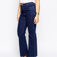 ASOS CURVE Slouch Flare Jeans in Dark Wash