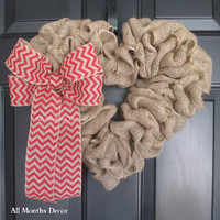 Burlap Heart Wreath with Red Chevron Bow