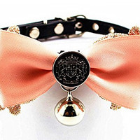 Adjustable Pet Dog Cat Leather Buckle Collar Fashion Bow With Little Bell Style S,Pink Bow With Badge