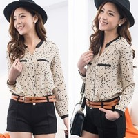 Stars Print Shirt Blouse Chiffon Long Sleeves
