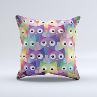 Multicolored Shy Owls Pattern  Ink-Fuzed Decorative Throw Pillow