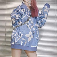 Louis Vuitton LV new loose print hood fashion all-match sweater