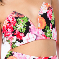 Painted Blooms Strapless Cropped Top