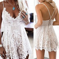 New Summer Women Spaghetti Strap V-neck Backless Lace Floral Lace-up Beach Femme Outfit Lady Playsuit Romper Jumpsuit