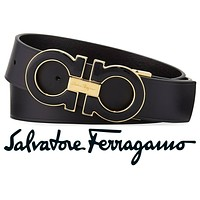 Salvatore Ferragamo Men's Large Enamel Gancini Black & Gold Buckle & Black Belt