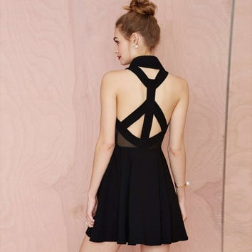 Black Criss Cross Back Dress with Pleated Skirt