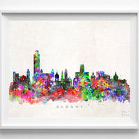 Albany Skyline Print, Albany Poster, New York Wall Art, Cityscape, Watercolor Painting, Giclee Art, Home Decor, Christmas Gift