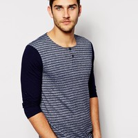 ASOS Stripe 3/4 Sleeve Grandad In Textured Fabric