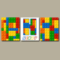 BOY Building Blocks Building Bricks Wall Art Big Boy Bedroom Wall Art Baby Boy Nursery Wall Art Boy Name Wall Art Prints Set of 3 Boy Gift
