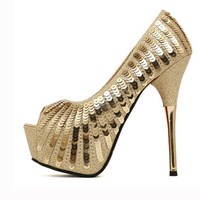 Stylish Design Summer High Heel Peep Toe Sandals = 4814738180