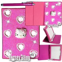 """Jersey Bling® BLING Universal Kindle Fire 7"""" HD 1st & 2ND GEN, HDX, NON-HD, Crystal and Rhinestone Faux Leather Case with Built-In Stand, FREE Stylus (3D BLING Kitty)"""