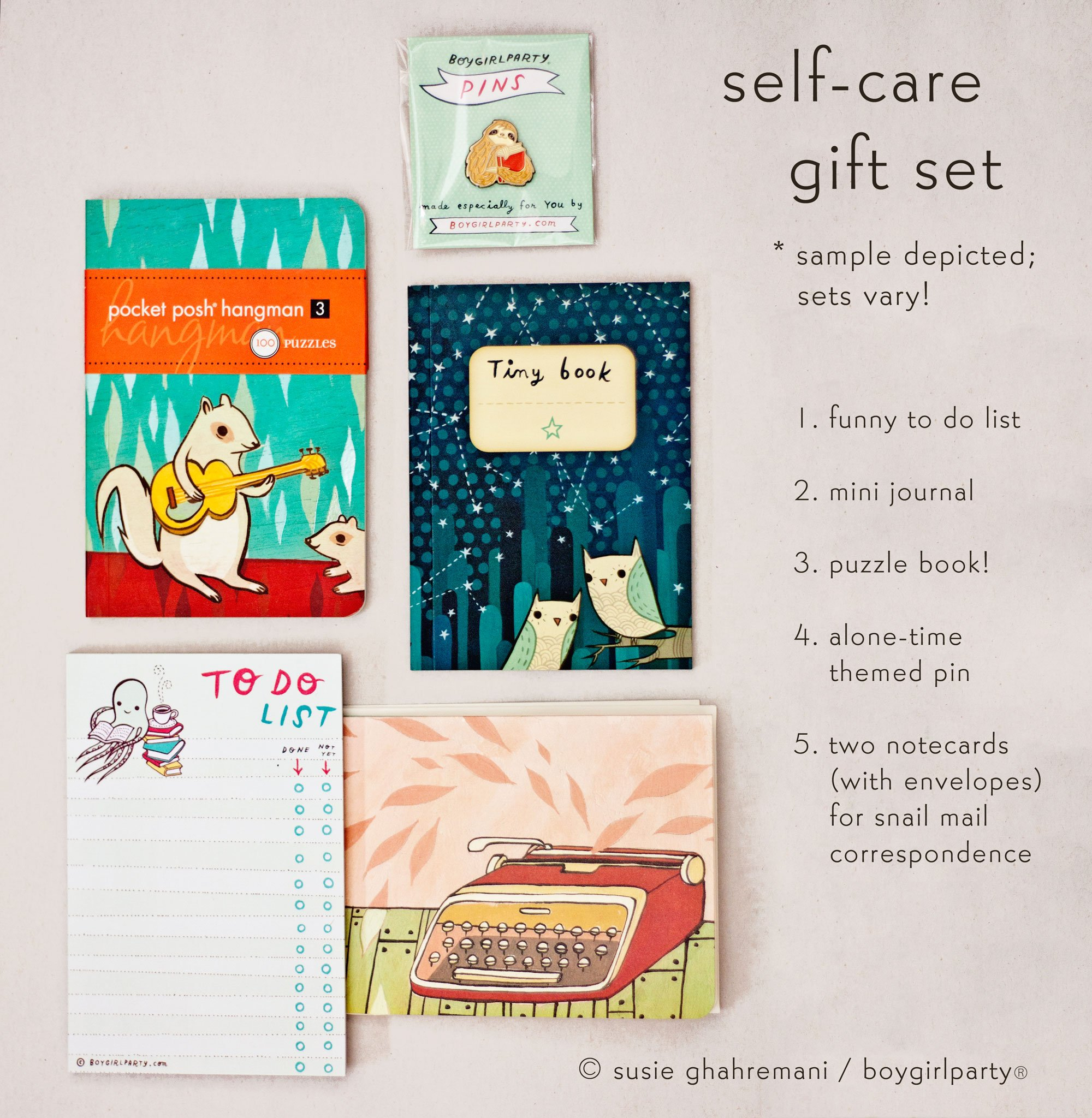 Image of Boygirlparty Self Care Gift Set -- Puzzle book, mini journal, and more