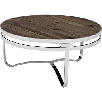 Provision Wood Top Coffee Table Brown Pine & Stainless Steel