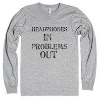 headphones in problems out-Unisex Heather Grey T-Shirt