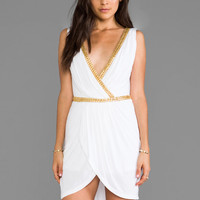 Pia Pauro Embellished Wrap Dress in White