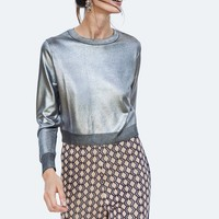 METALLIC LOOK SWEATER